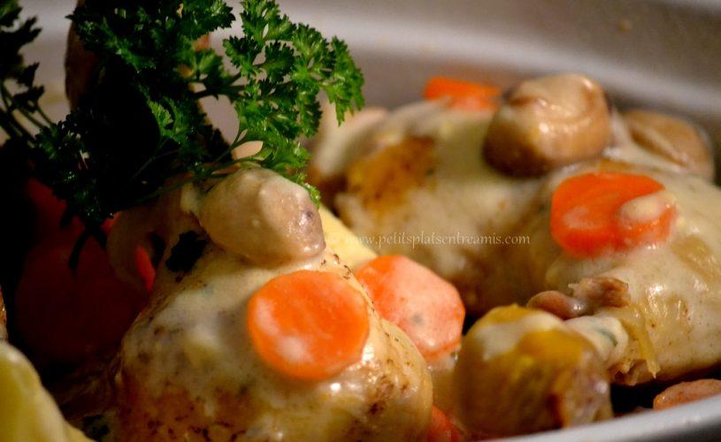 Cuisse de poulet sauce champignons crème